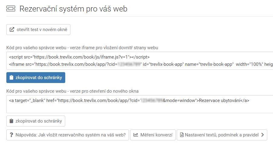 Rezervační systém - vložit na web