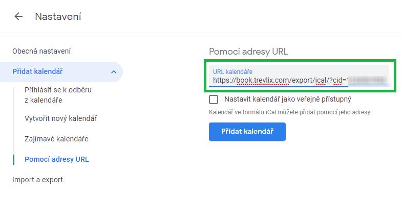 Vložit URL adresu exportu z Trevlixu do Google Kalendáře