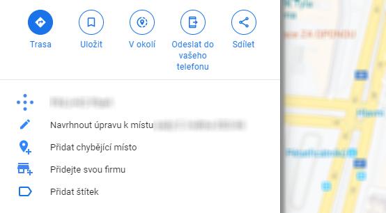 Google Mapy - přidat ubytování