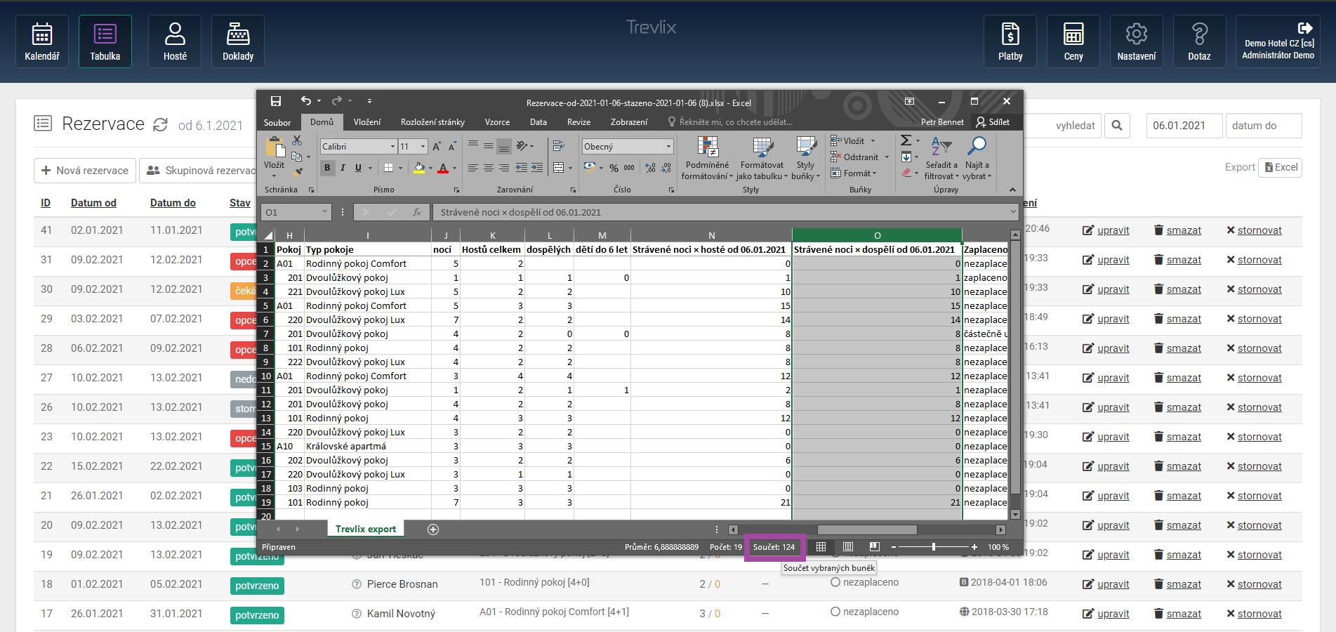 Export rezervací do Excelu