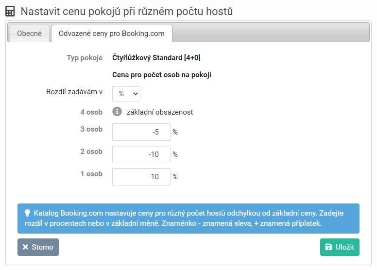 Booking - odvozené ceny