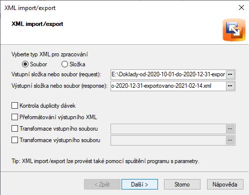 Pohoda zvolit XML souboru