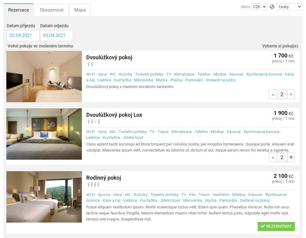 Online rezervace - skupinová rezervace