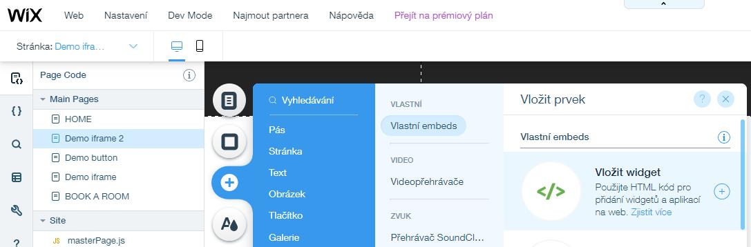 Wix - vložit widget