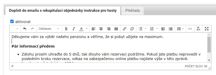Email rekapitulace rezervace