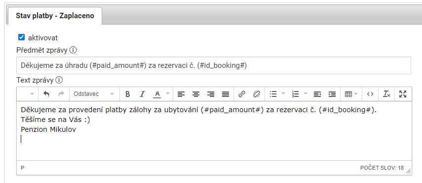 Email rezervace ubytování zaplacena
