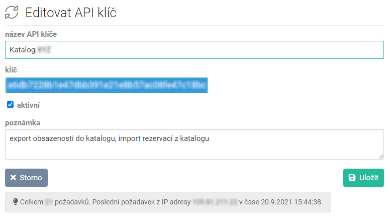 Editovat API klíč